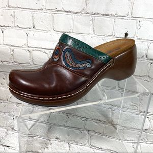 Clarks brown leather mules sz 8 M